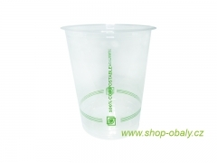 Kelímek PLA 300/425ml 12oz  92mm -100% compostable GREEN STRIPES