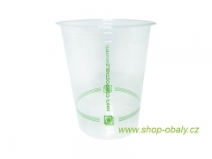 Kelímek PLA 400/500ml 16oz  98mm - 100% compostable GREEN STRIPES