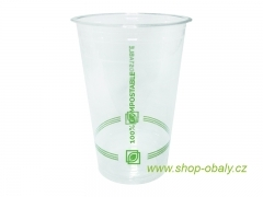 Kelímek PLA 500/600ml 20oz 98mm -100% compostable GREEN STRIPES